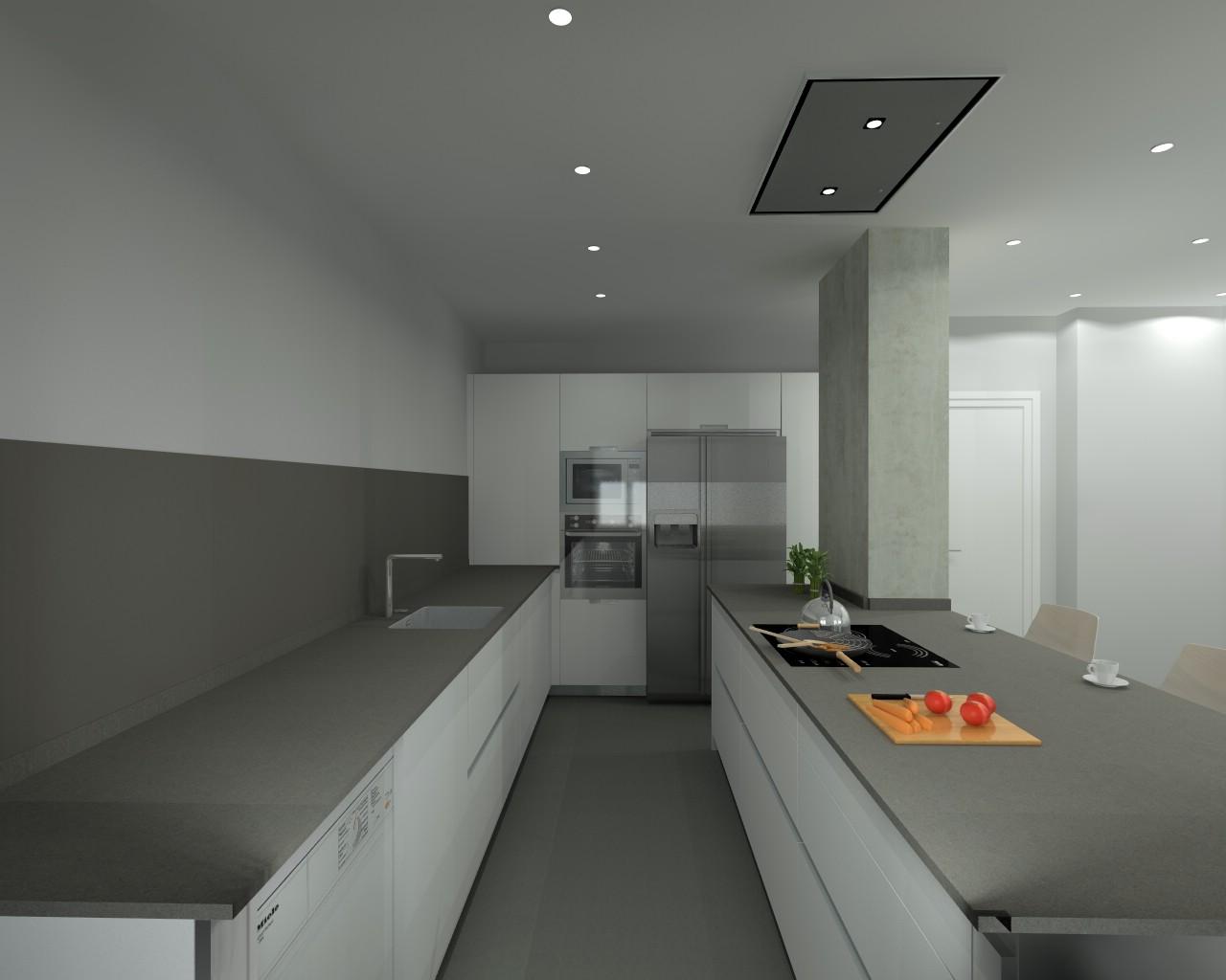 Proyecto de cocina santos en madrid modelo line l con for Modelos de cocinas en l