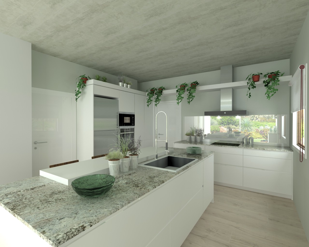Cocina santos modelo intra l laminado blanco nieve for Encimera de granito gris