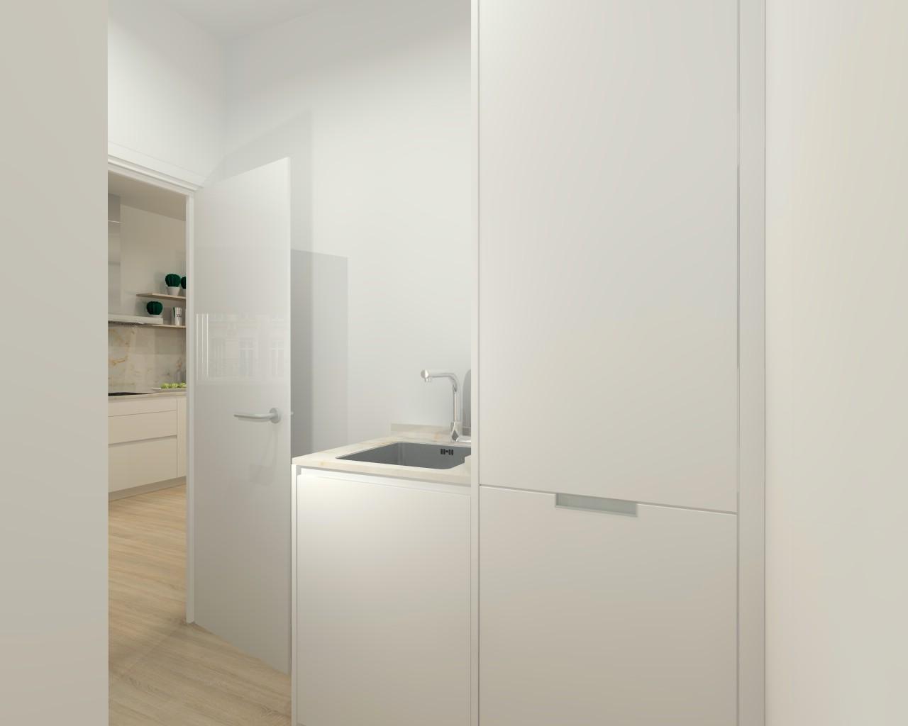 Cocina santos modelo line l laminado encimera silestone for M s mobiliario auxiliar para tu cocina s l