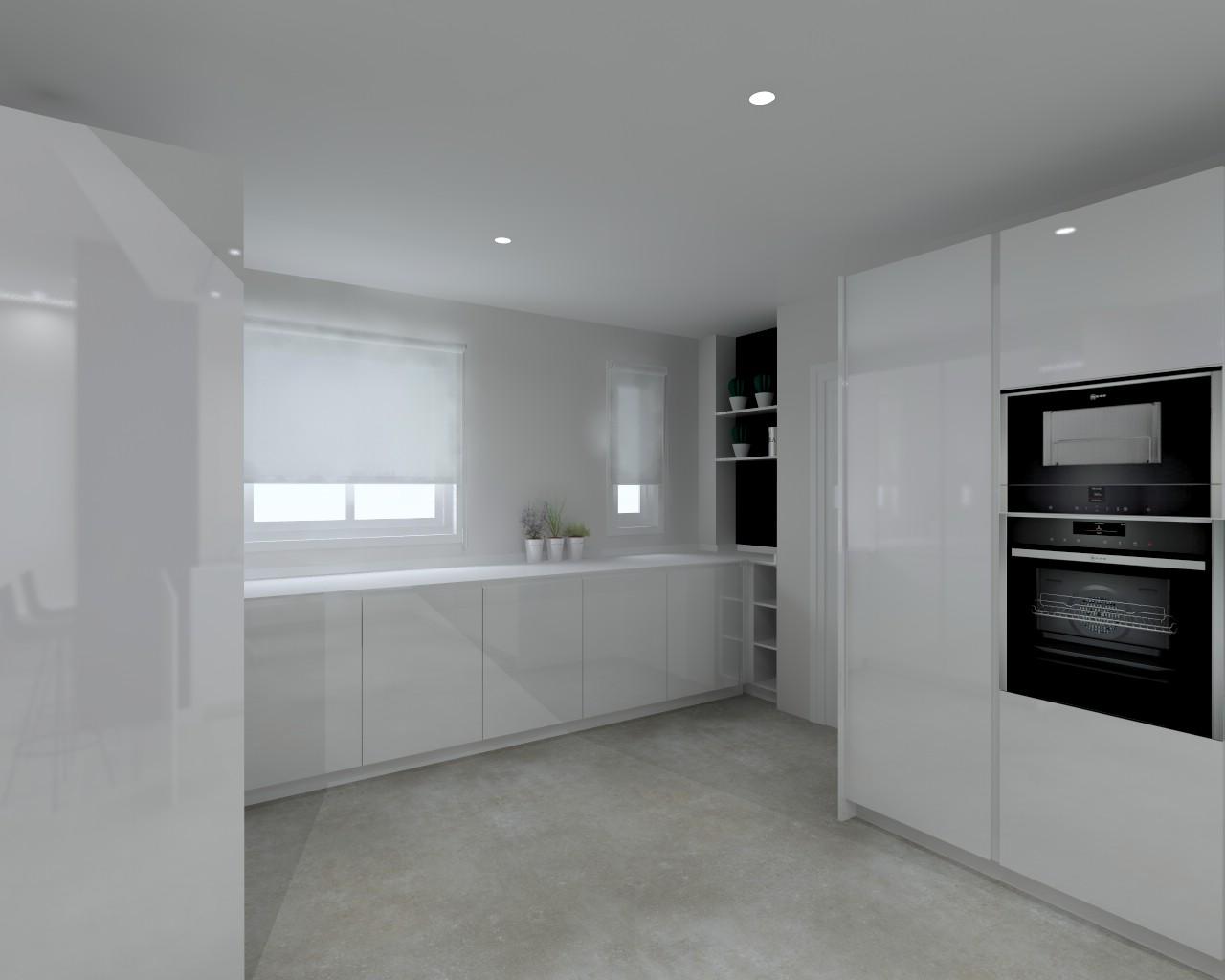 Cocina Santos Modelo Intra BD Lacado Brillo Blanco ...