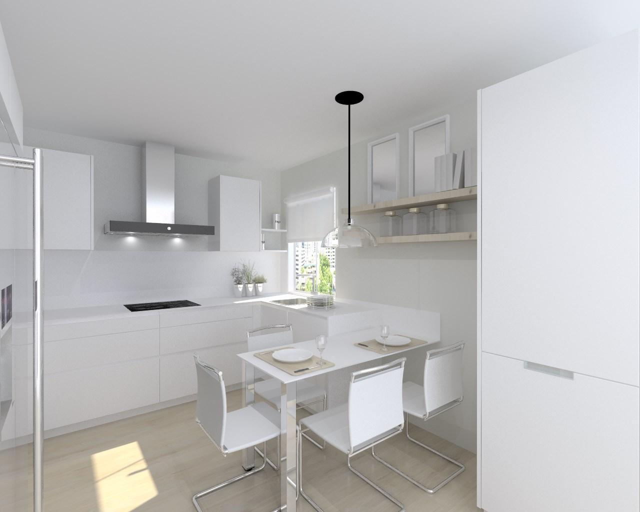 Cocina santos modelo line l blanco seda encimera silestone for Materiales para encimeras de cocina