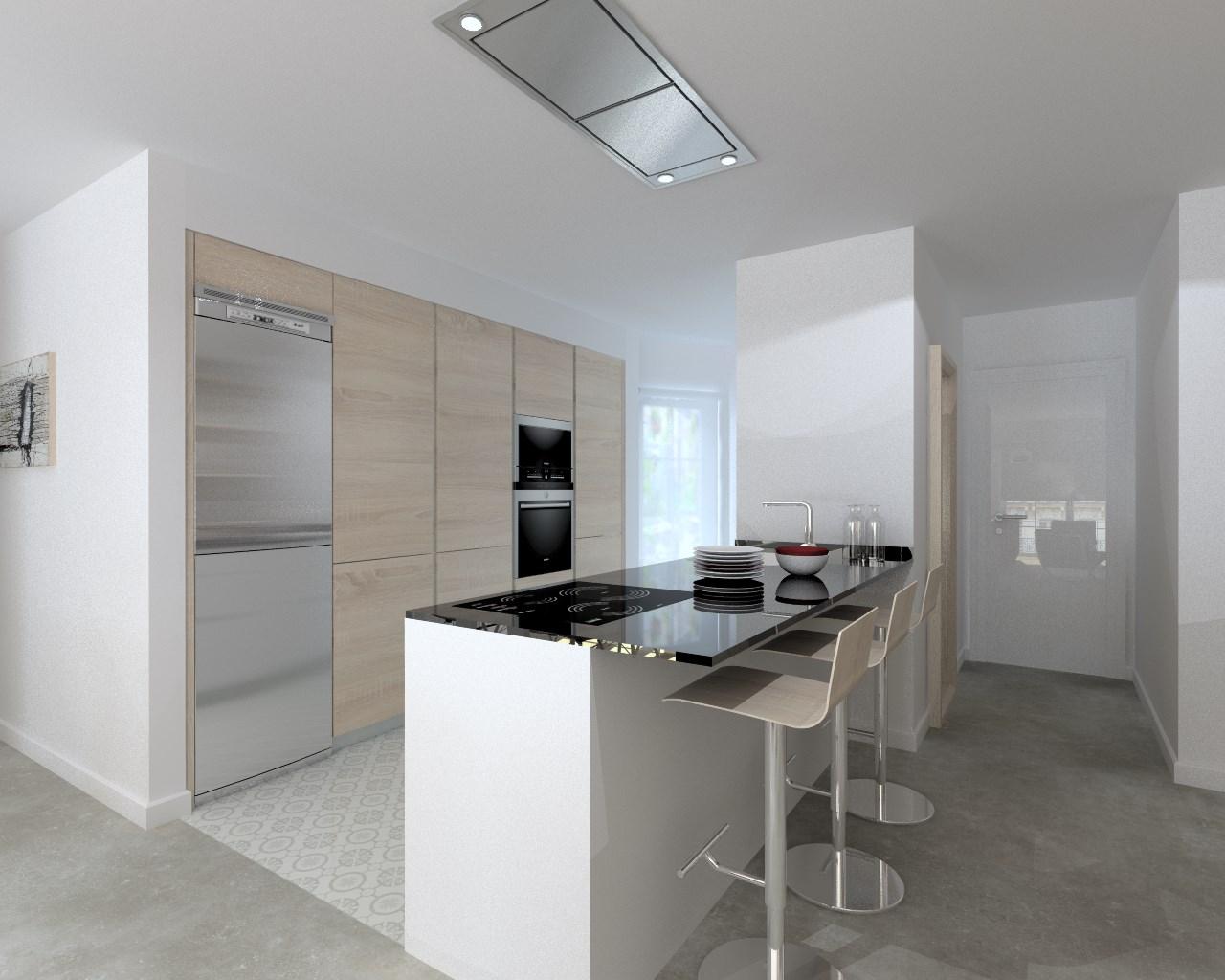 Cocina santos modelo line e blanco encimera granito negro for Encimera cocina granito