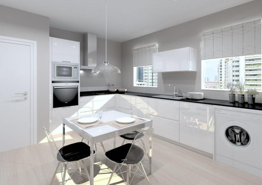 Cocinas blancas con granito interesting suelos para for Suelo negro brillante
