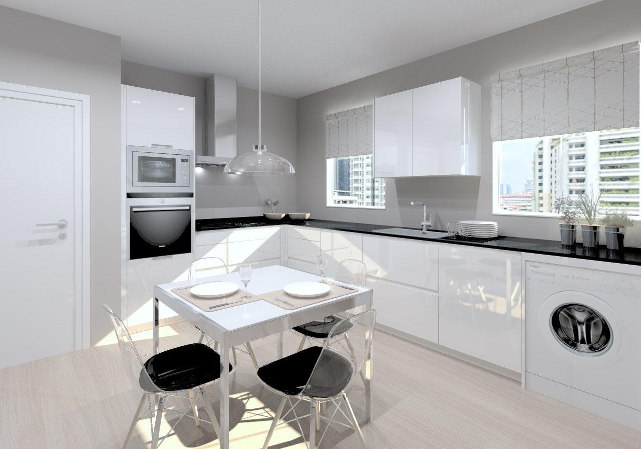 cocina santos modelo line laminado blanco encimera granito negro