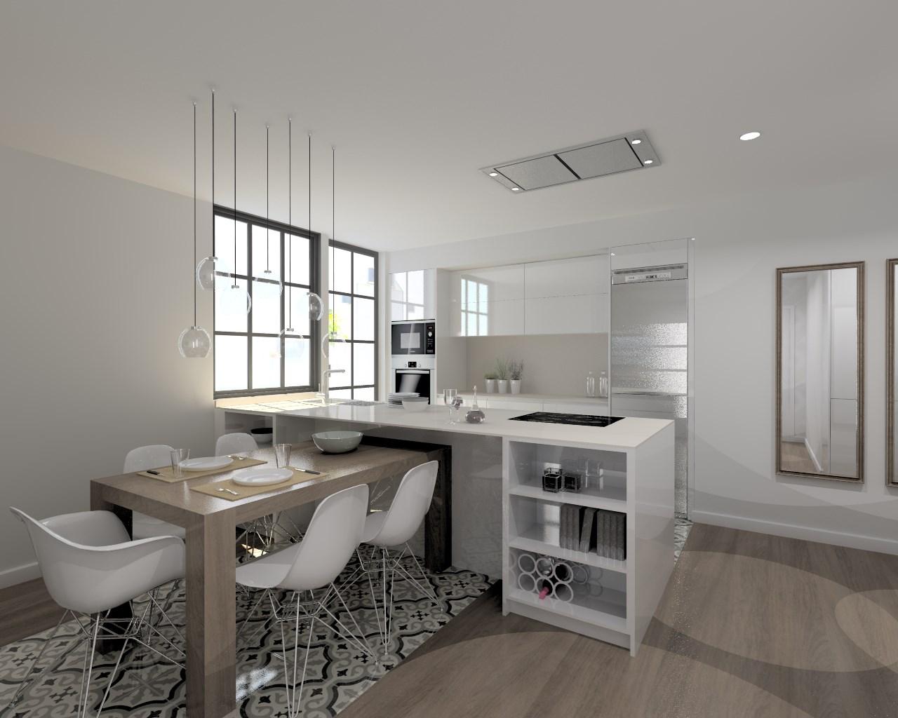 Cocina santos modelo line laminado blanco brillo neolith for Cocinas modelos 2016
