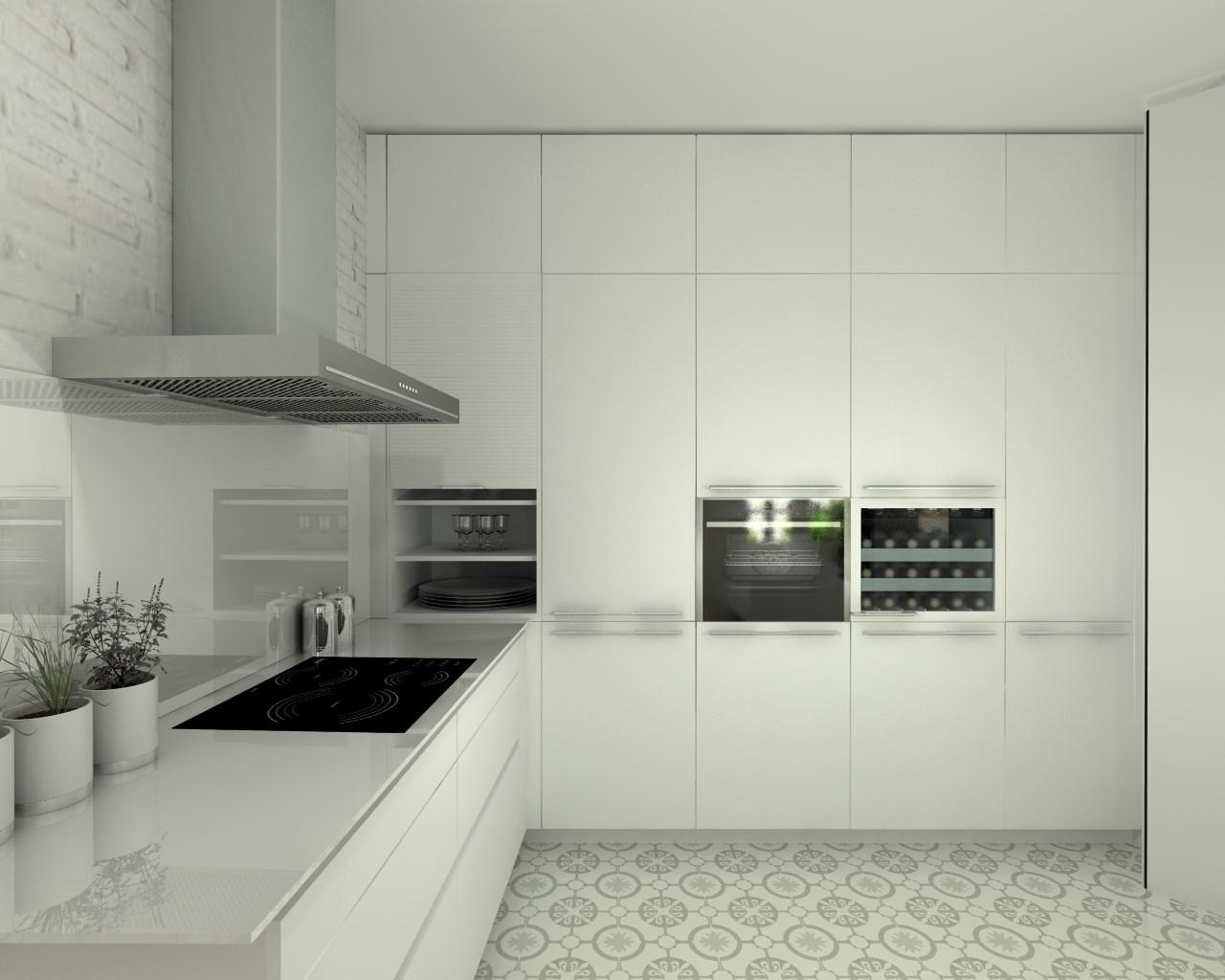 Cocina santos modelo line estratificado blanco encimera for Encimera auxiliar cocina