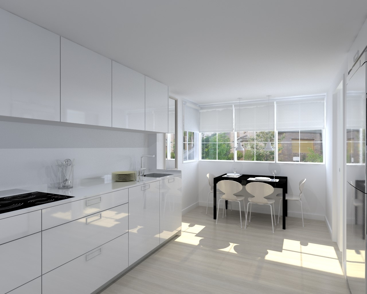 Cocina santos modelo plano blanco brillo encimera neolith for Modelos de cocinas 2016