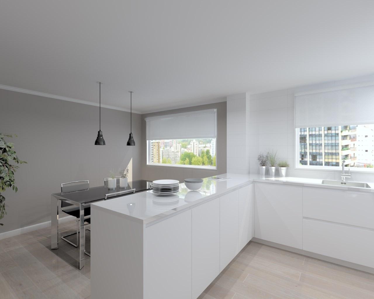 Cocina santos modelo line laminado blanco encimera silestone blanco estudio cocinas dc - Encimera cocina blanca ...