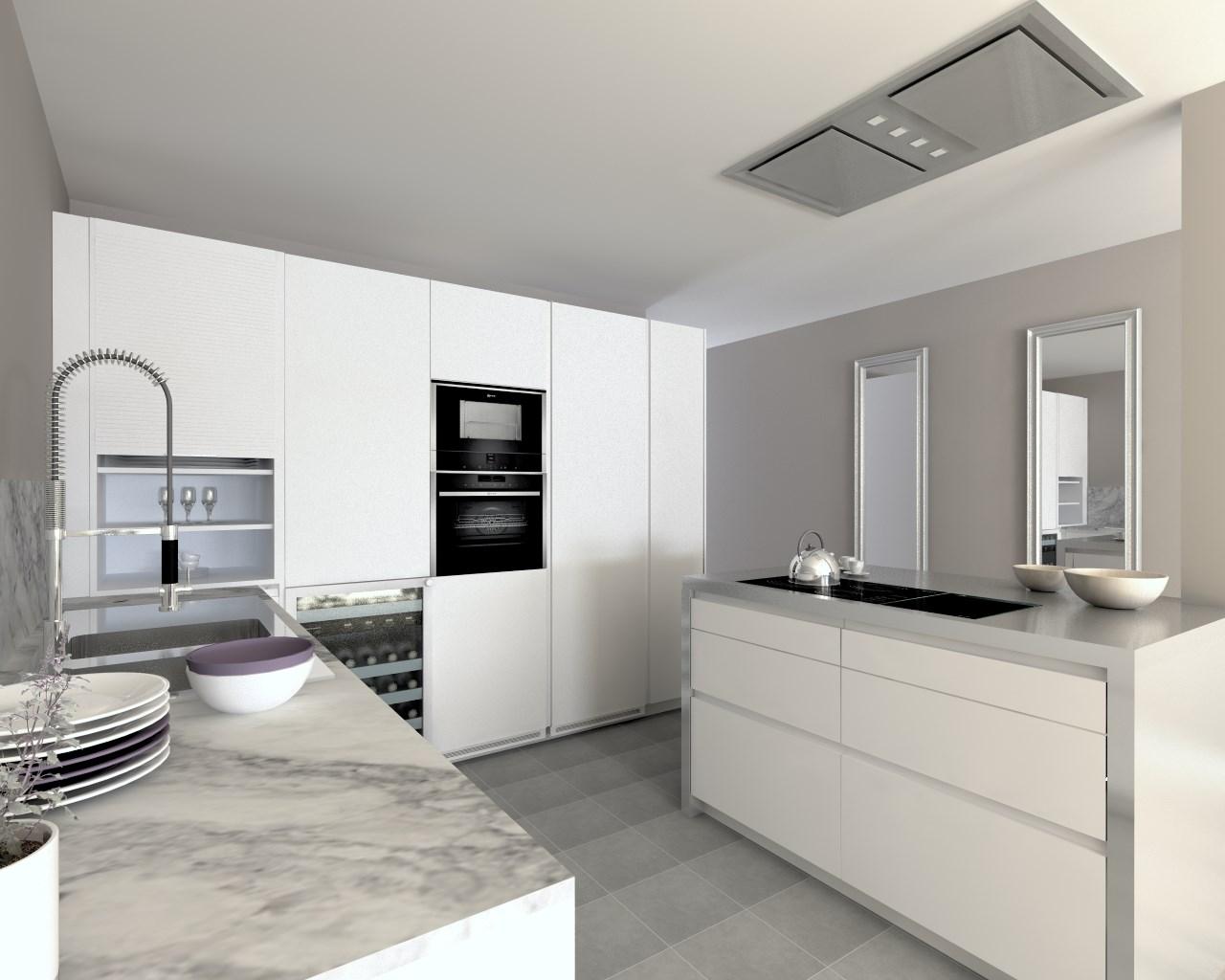 Cocina santos modelo line estratificado blanco encimera for Cocinas de granito blanco