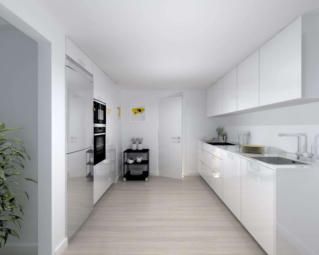 Cocina santos modelo plano blanco brillo encimera neolith - Cocinas blanco brillo ...
