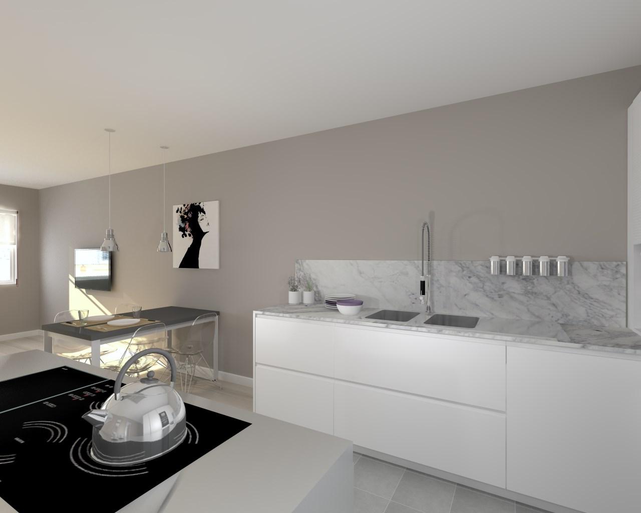 cocina santos modelo line blanco encimera granito portobello