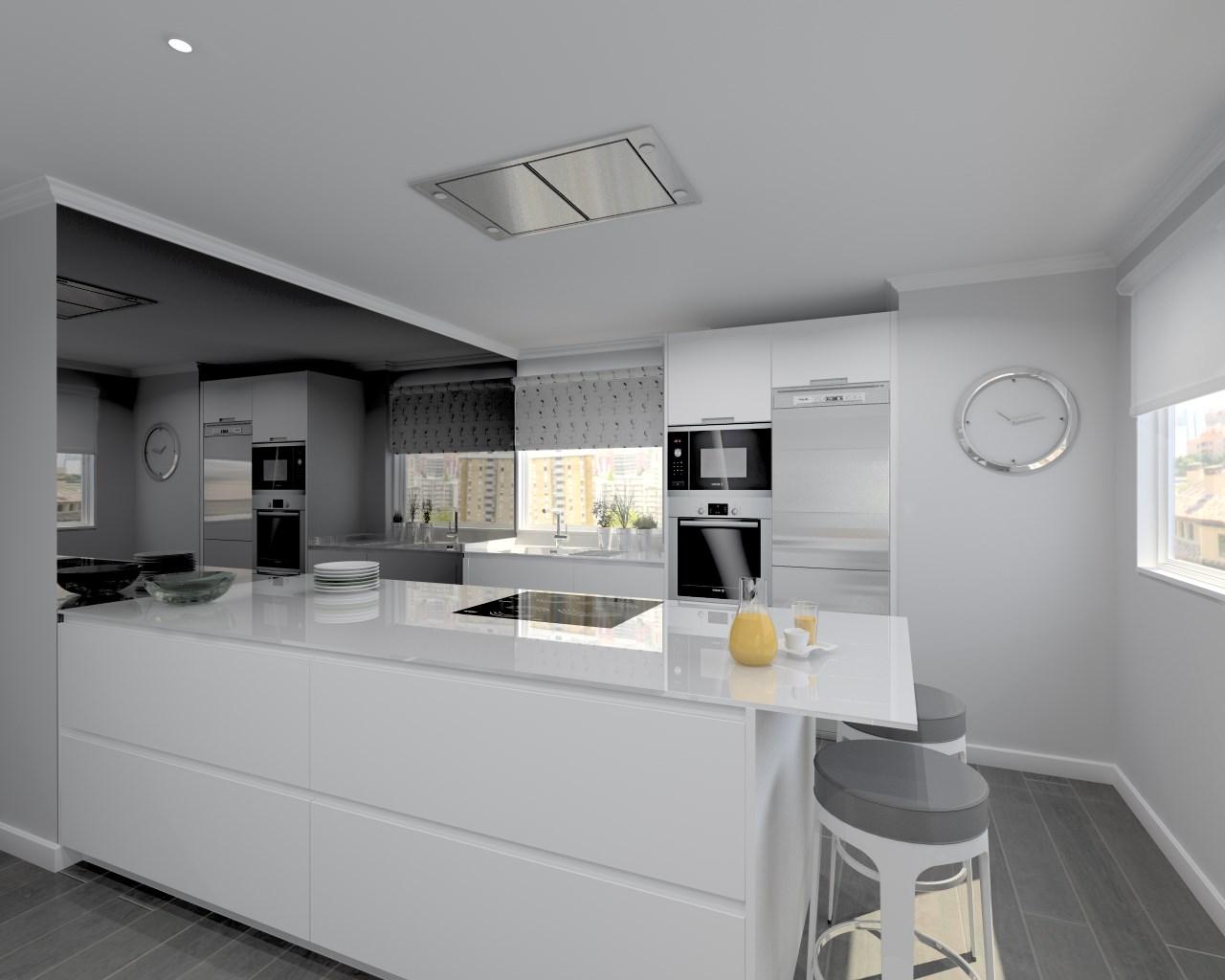 Cocina santos modelo line l blanco seda dalian estudio for Marmol de carrara para cocinas