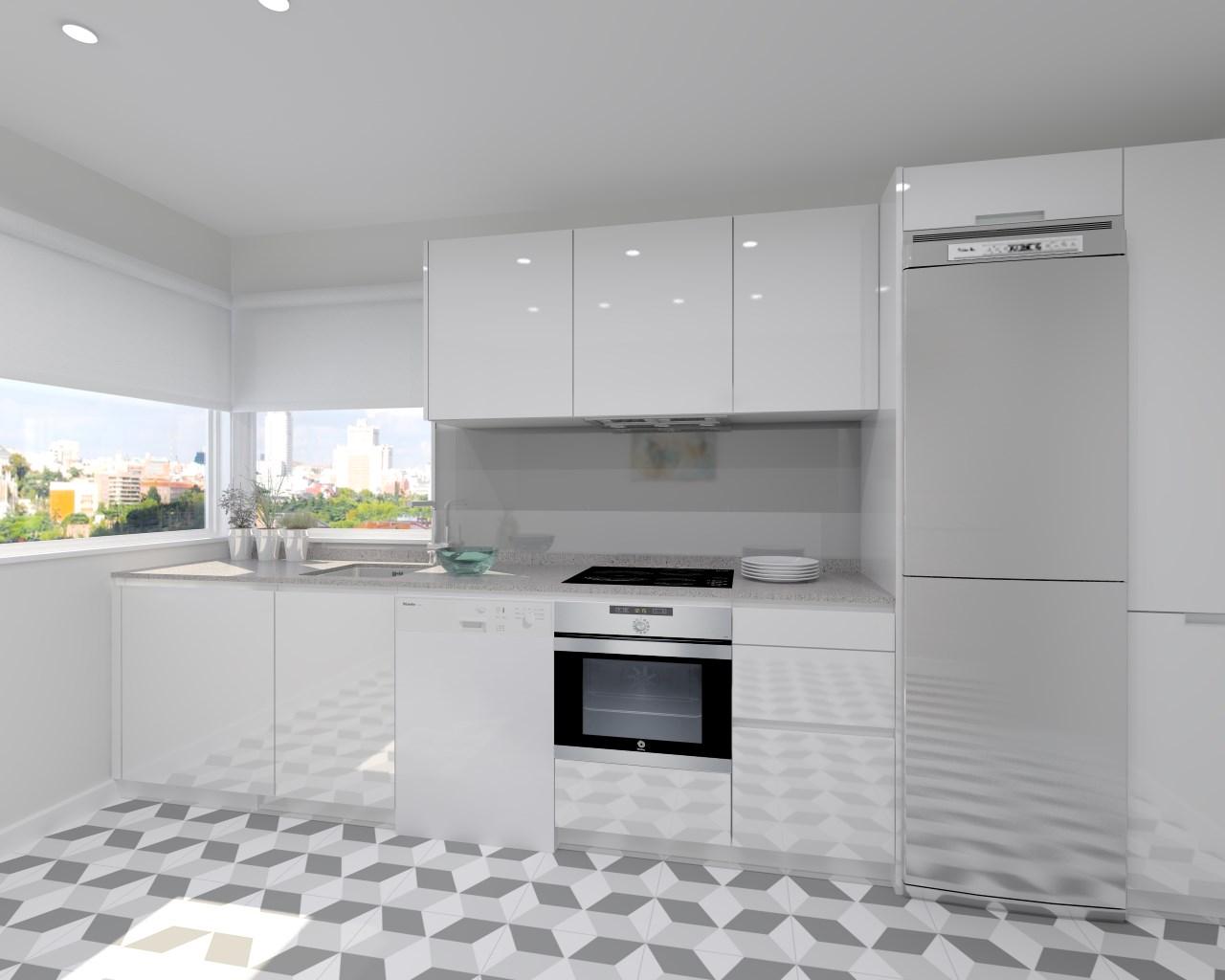 Cocina santos modelo line laminado blanco brillo encimera for Cocinas blancas y grises fotos