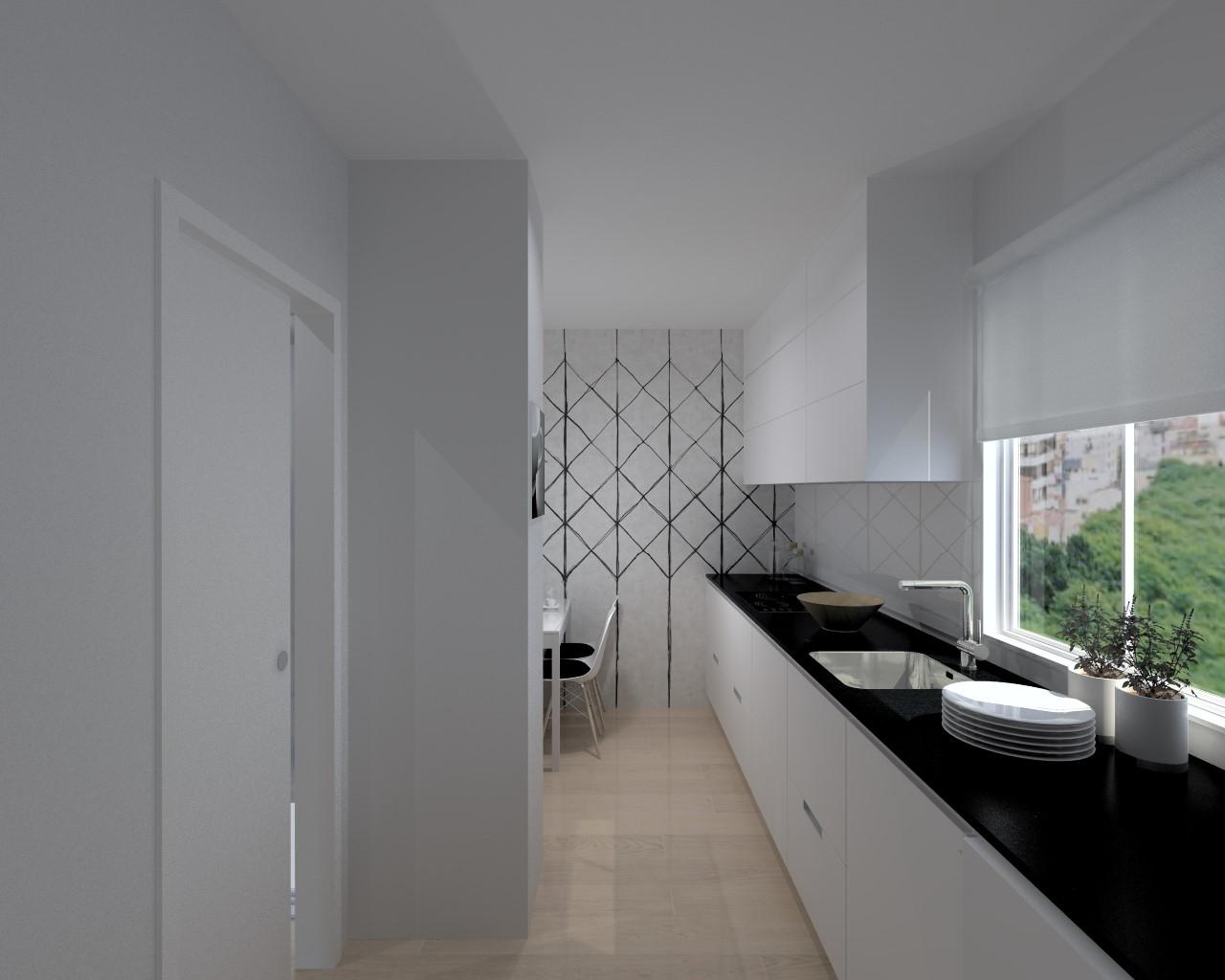 cocina santos modelo minos line blanco encimera granito negro