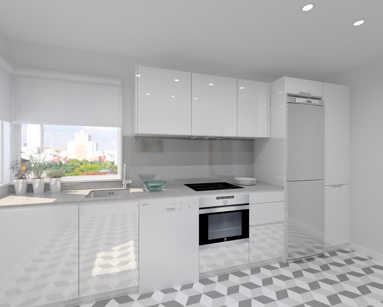 Cocina santos modelo line laminado blanco brillo encimera for Cocinas blancas con silestone