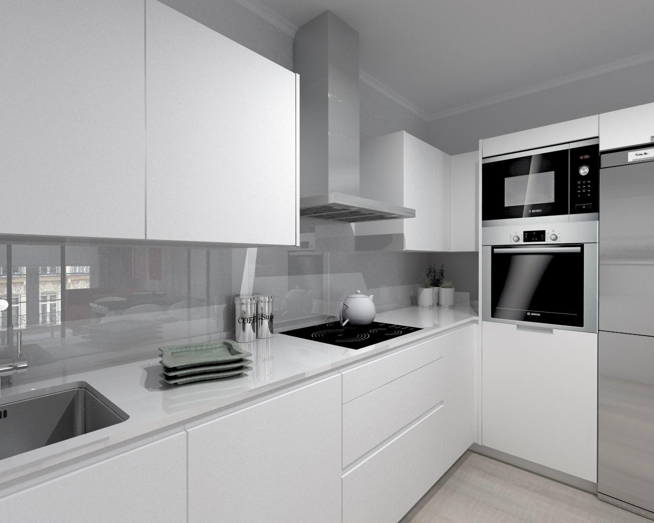 Cocina santos modelo line estratificado blanco encimera - Encimeras de cocina compac ...