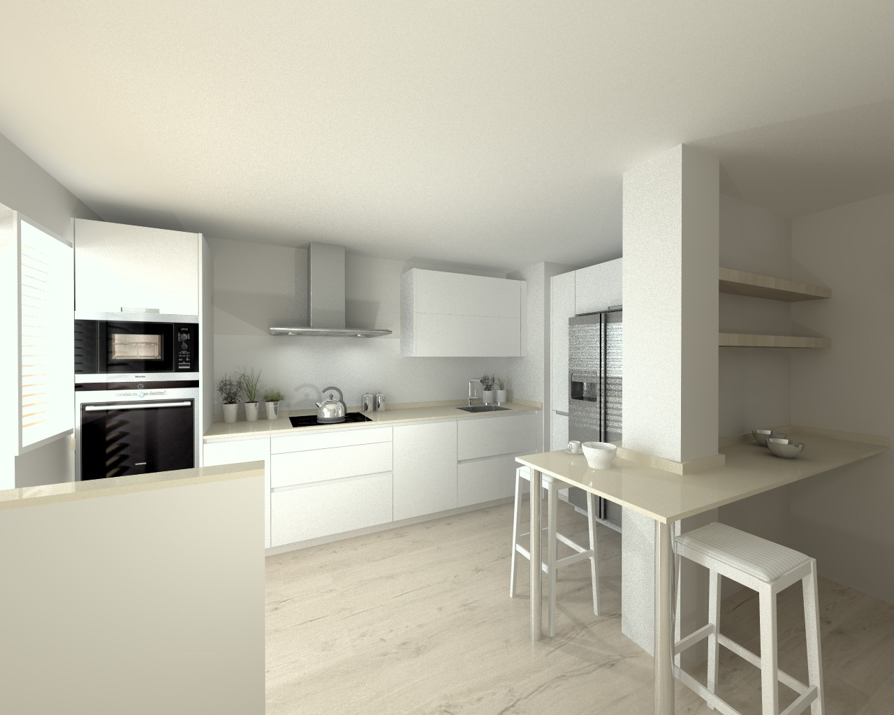 Cocina santos modelo line laminado seda blanco encimera for Cocinas silestone colores