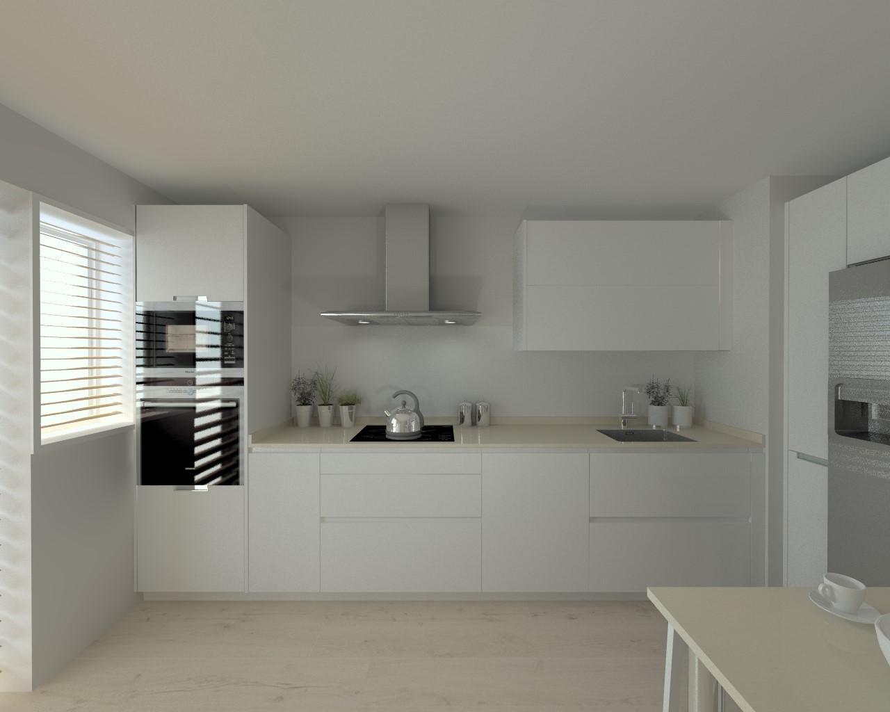 Cocina santos modelo line laminado seda blanco encimera for Modelos de cocinas en u