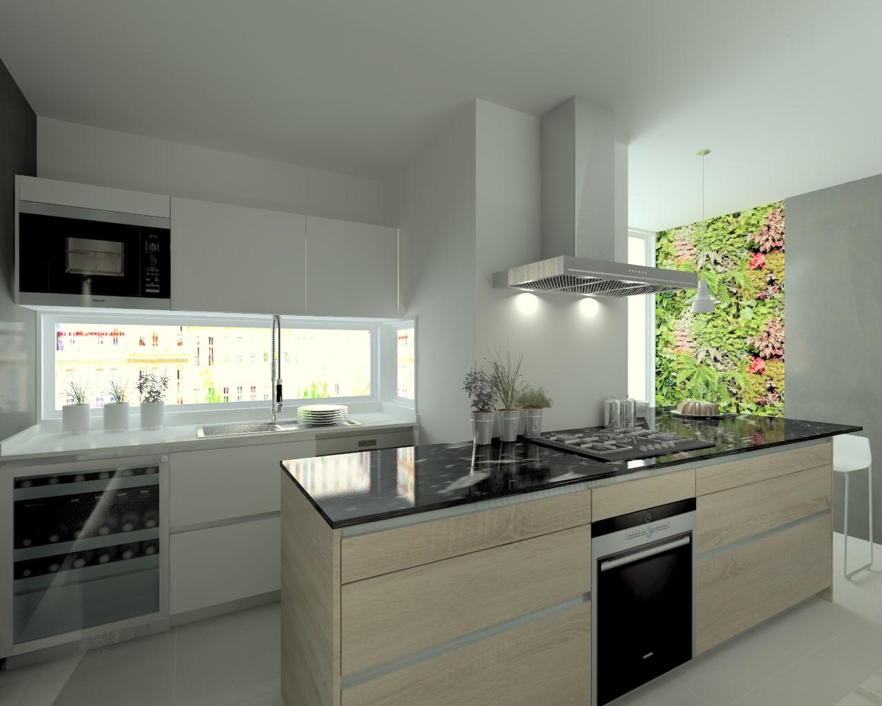 cocina santos modelo line laminado seda blanco encimera mrmol carrara y granito titanium - Encimera Marmol