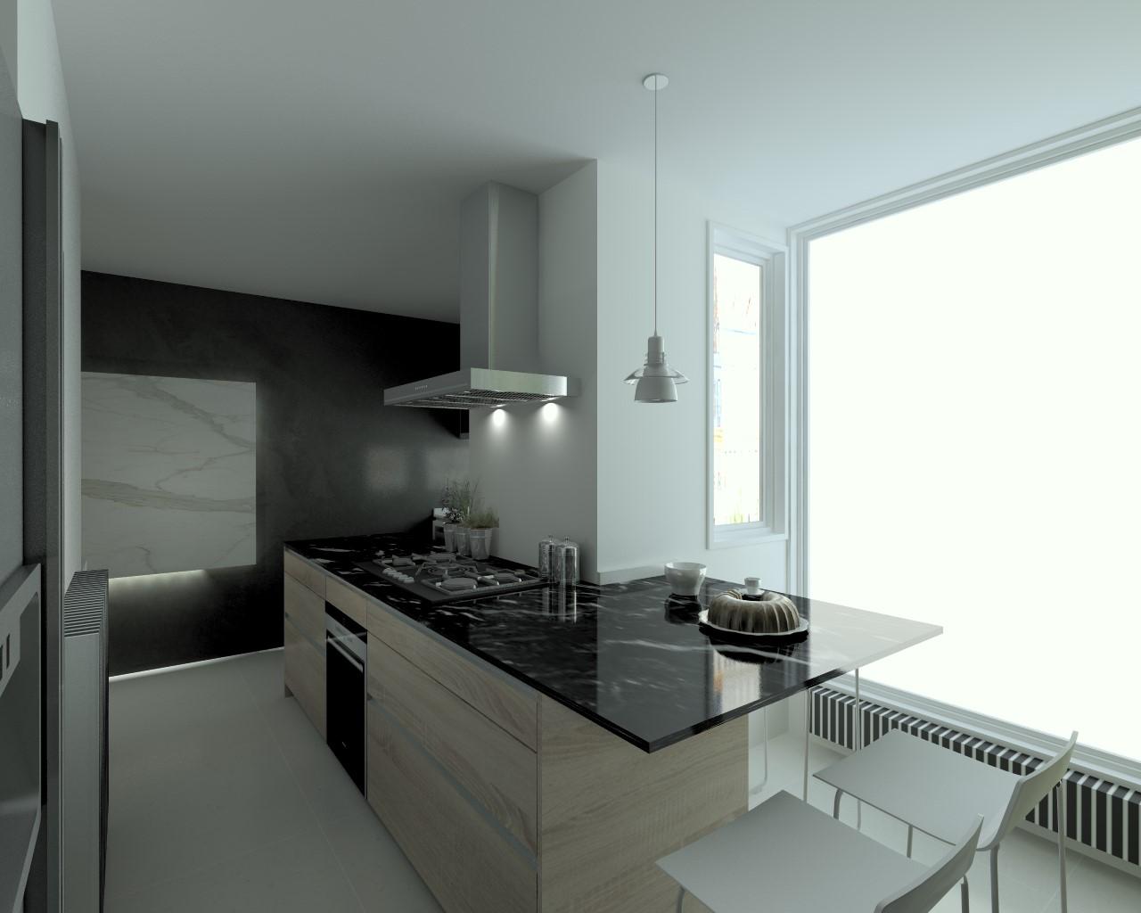 Cocina santos modelo line laminado seda blanco encimera for Marmol de carrara para cocinas