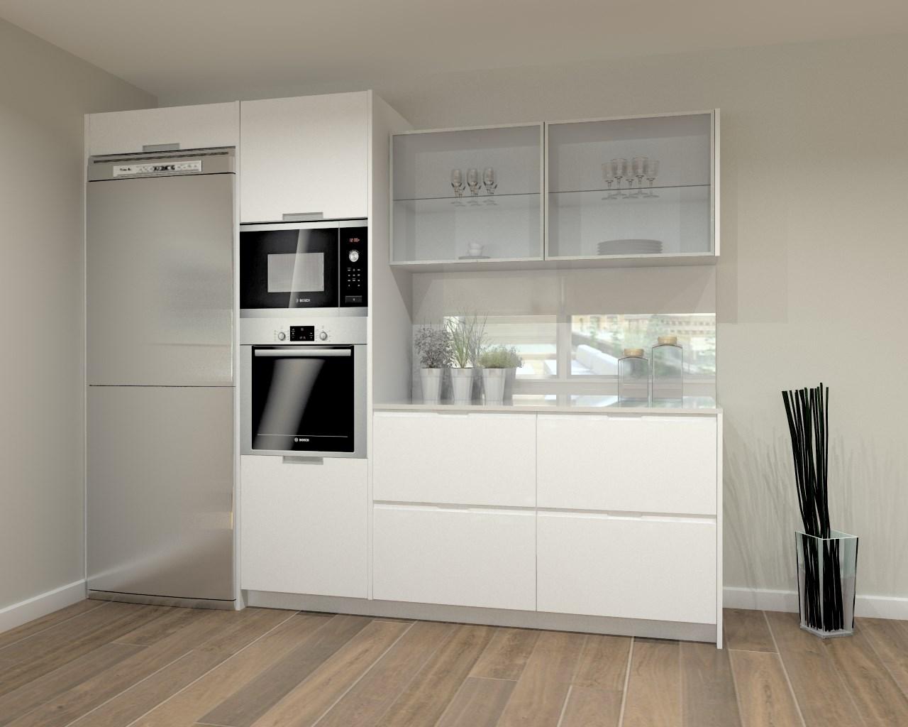Cocina santos modelo intra laminado seda blanco encimera granito negro y silestone blanco - Encimera cocina granito ...