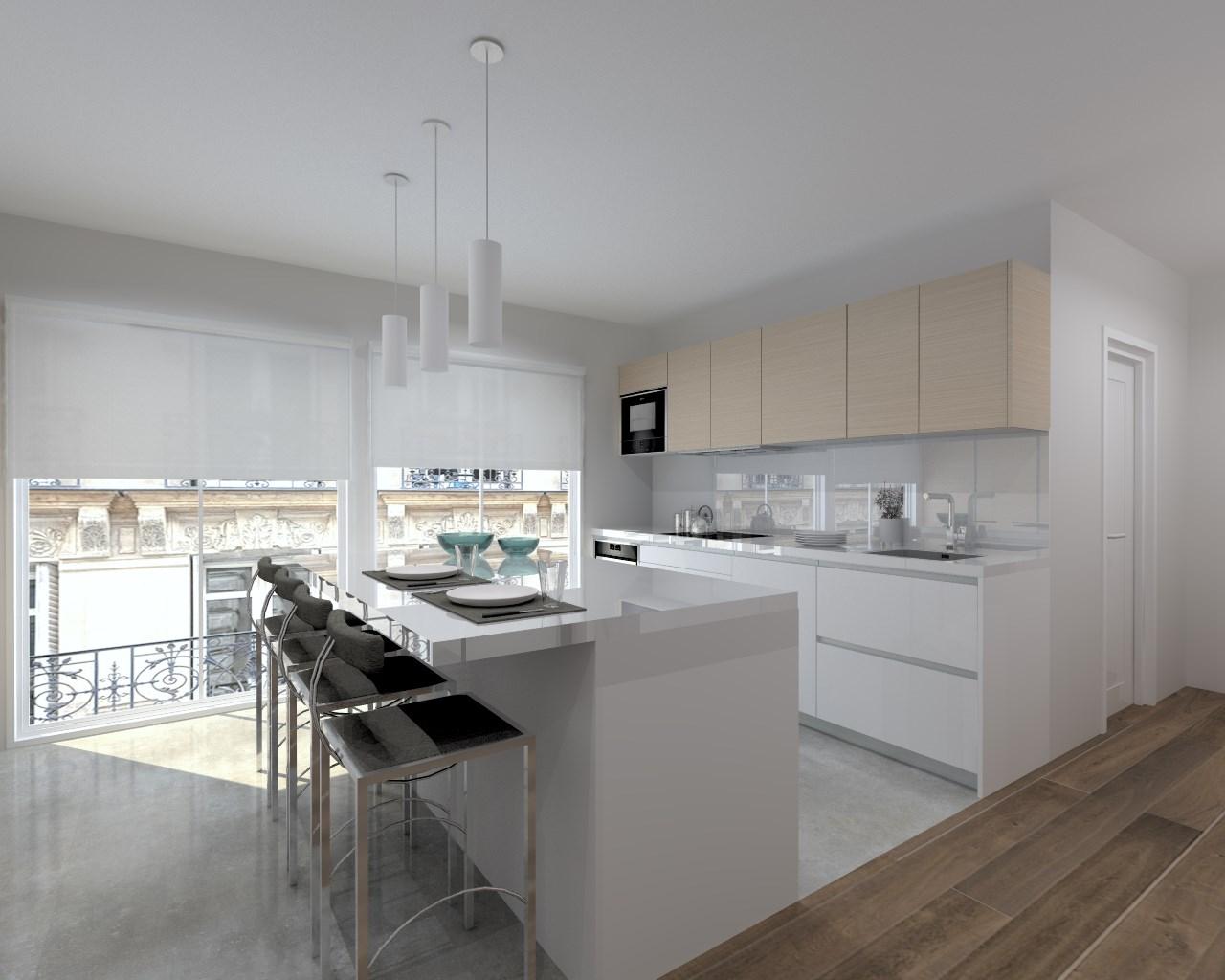 Encimera granito blanco macael simple cocina con isla en - Encimera granito blanco ...