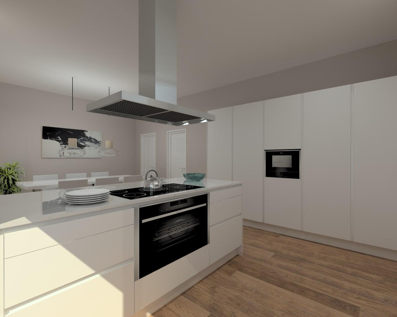 Cocina santos modelo line laminado seda blanco encimera for Encimera granito negro