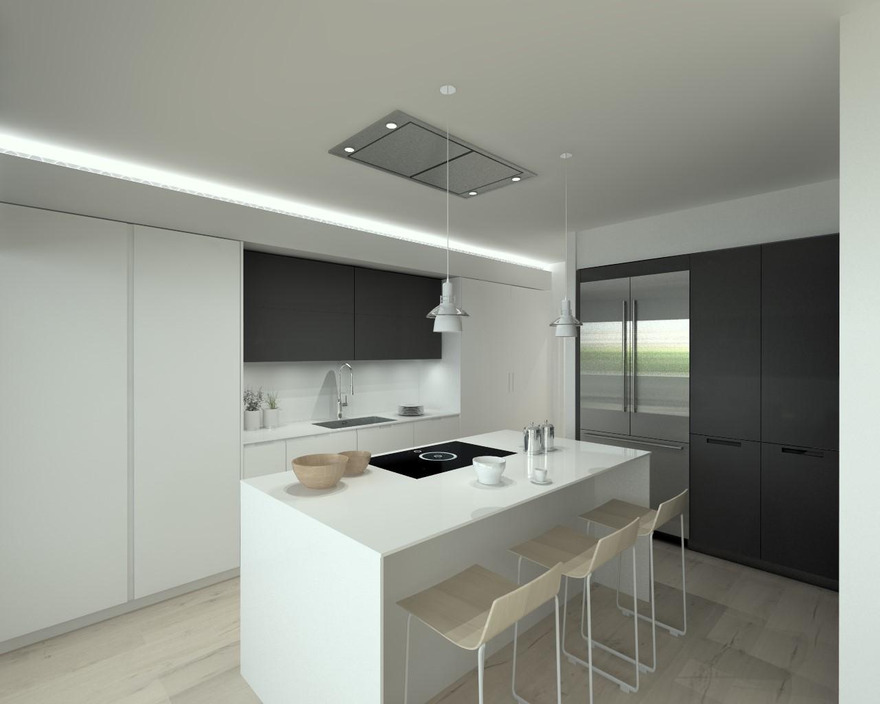 Cocinas santos modelo iintra laca seda blanco y gris for Modelos de cocinas minimalistas
