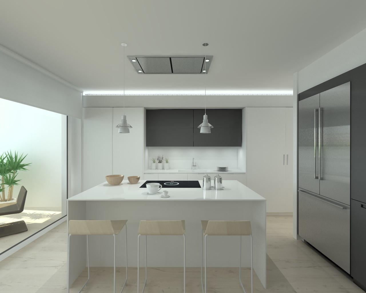Cocinas santos modelo iintra laca seda blanco y gris antracita encimera krion blanco estudio - Cocinas santos ...