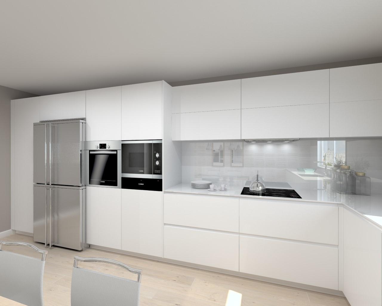 Cocina santos modelo line laca blanco seda encimera for Disenos de cocinas integrales blancas