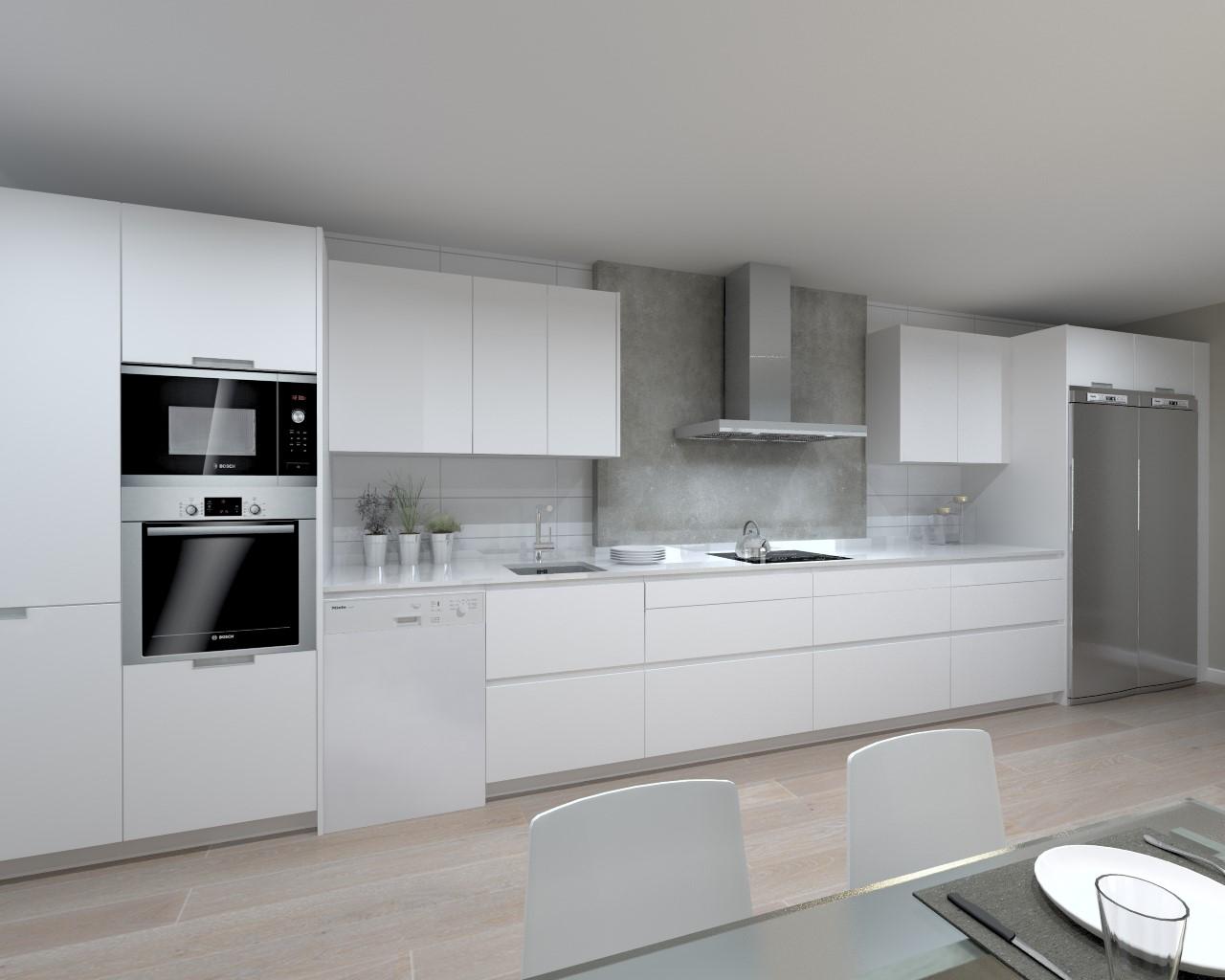 Cocina santos modelo line y minos estratificado blanco y for Encimera de cocina lacada en blanco negro