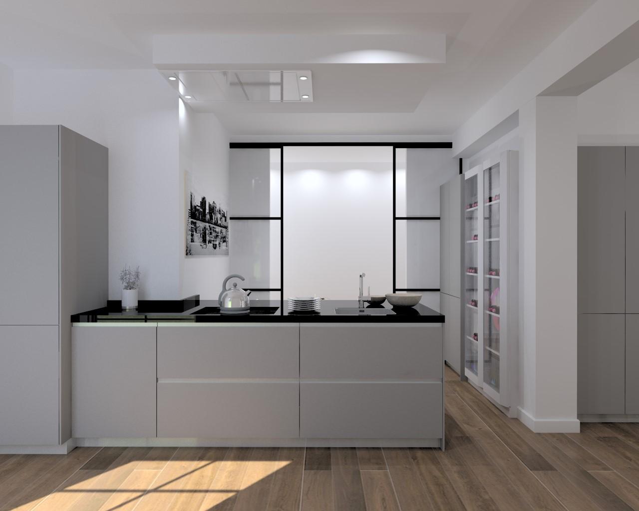 Cocina santos modelo line laminado antihuella gris vis n for Encimera de granito gris