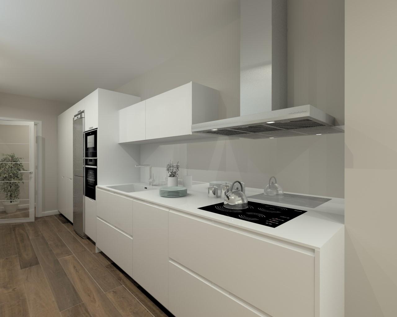 Cocina santos modelo intra laca seda mate blanco encimera - Cocina blanca mate ...