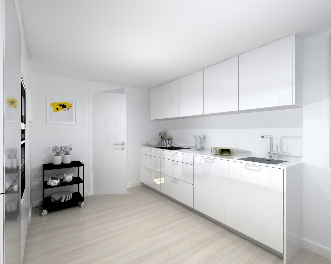 Cocina santos modelo line l blanco brillo estudio cocinas dc for Cocinas wengue y blanco