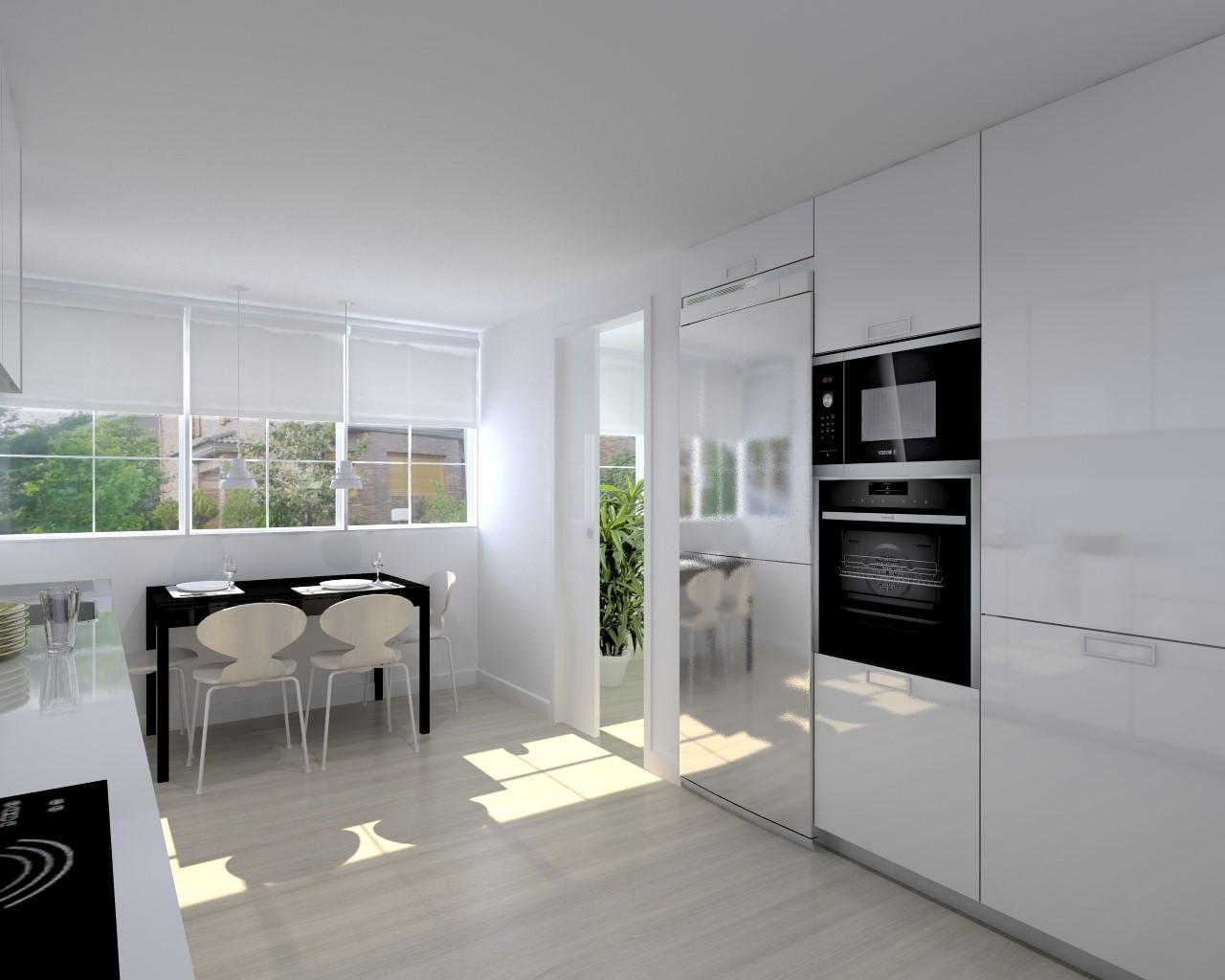 Cocina santos modelo line l blanco brillo estudio cocinas dc for M s mobiliario auxiliar para tu cocina s l