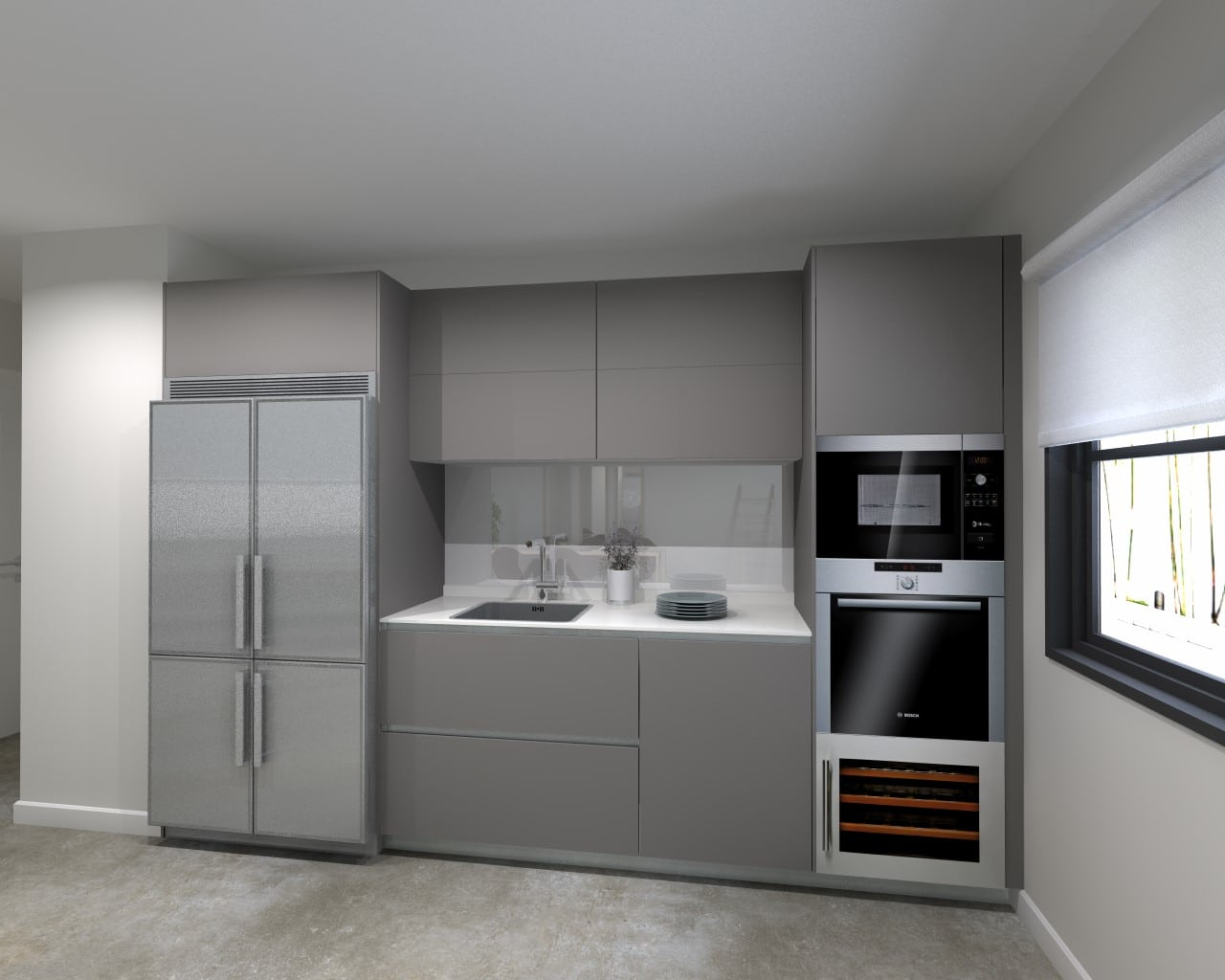 Cocina santos line e estratificado seda color gris vis n y for Cocinas color granate