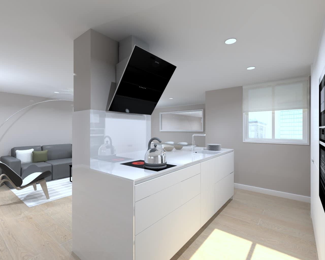 Cocina blanca vers til y funcional estudio cocinas dc for Cocinas en color blanco
