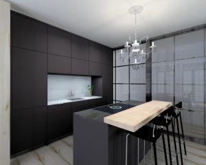 Cocina Moderna Negra en Aravaca