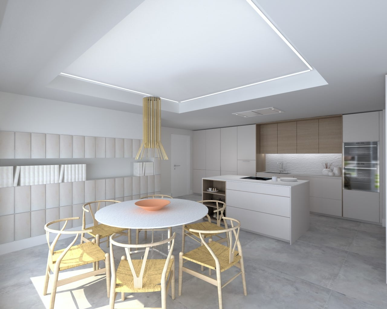 Cocina con isla y office en tonos blanco