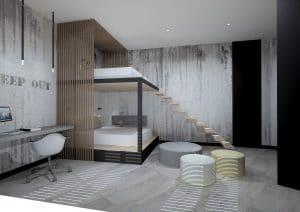 dormitorio a doble altura