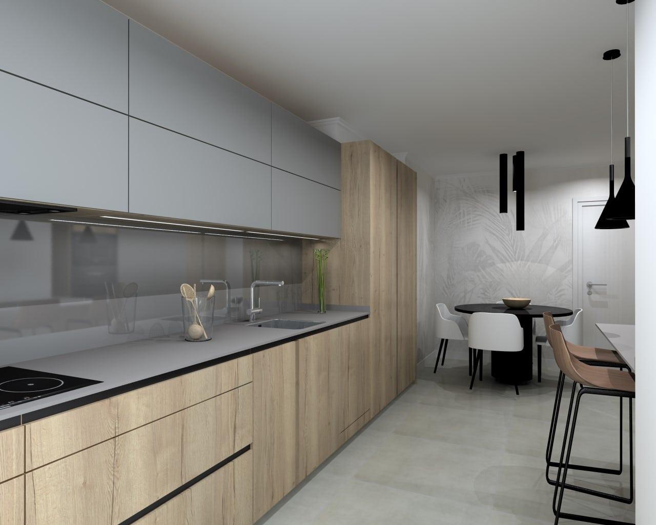 Cocina Santos gris visón y madera