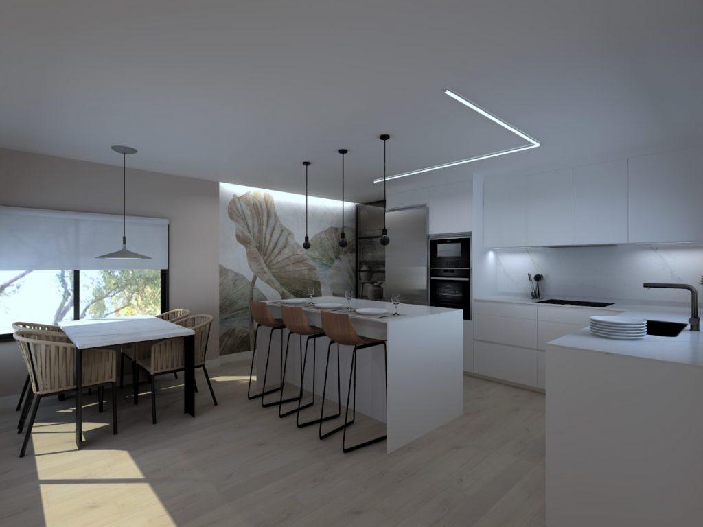 Cocina blanca con papel pintado