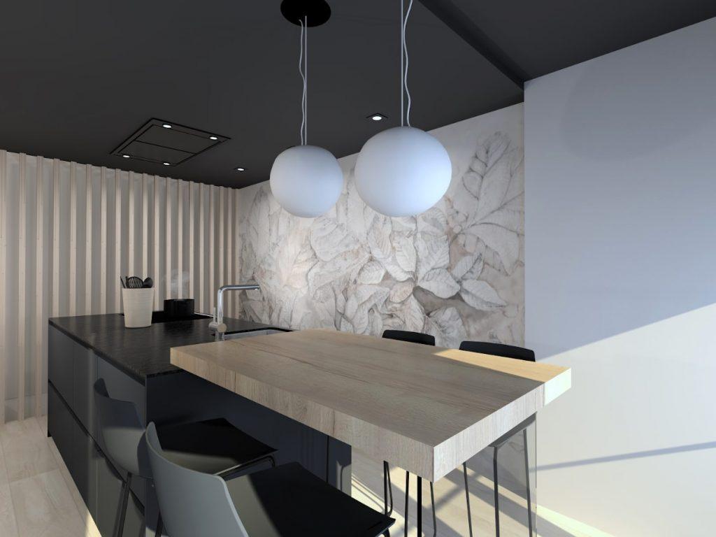 Cocina negra con papel pintado en zona office