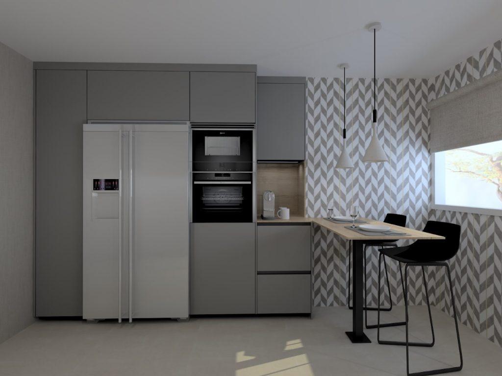 Cocina gris con papel pintado