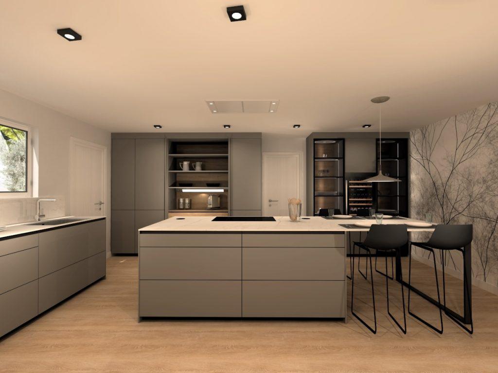 Cocina gris con vitrinas y papel pintado